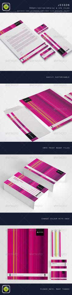 Jesson  #GraphicRiver         Business card, letterhead, compliment slip, envelope and folder stationery package with clean and professional design.  	 Easy customizable Ai & EPS FILE CMYK Color Profile 300 DPI Print Ready!  Fonts used:  .fontsquirrel /fonts/TitilliumText     Created: 4May13 GraphicsFilesIncluded: VectorEPS #AIIllustrator Layered: No MinimumAdobeCSVersion: CS PrintDimensions: 3.5x2 Tags: agent #beauty #business #classy #communications #design #modern #pattern #pink…