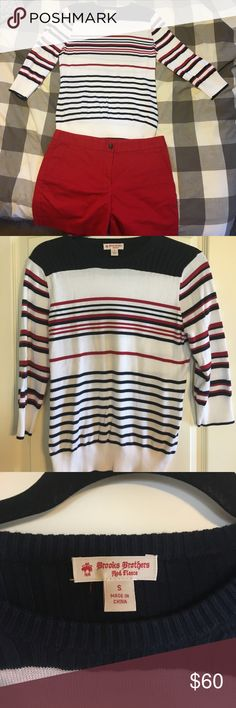 Brooks Brothers sweater and short set Red, white and blue 3/4 sleeve sweater size S and red shorts size 6 Brooks Brothers Other