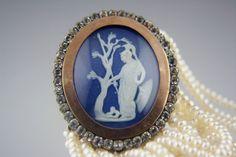 Wedgwood Blue Jasper Cameo Cultured Pearl Nine-Strand Bracelet