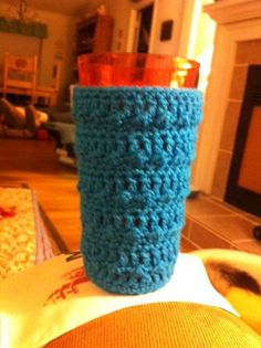 I made this coozie for my friend, Helen. I am working on a set of them for her drinking glasses.