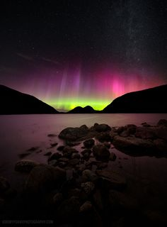 Northern lights over Jordan pond