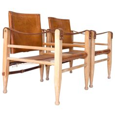 """Pair of Leather """"Safari"""" Chairs 