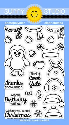 Sunny Studio - Clear Stamp - Bundled Up