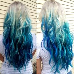 ash blonde to blue long ombre hair