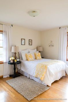 How to Stage A Bedroom, Tips for Staging A Bedroom, Bedroom Decor Ideas, White Yellow and Black Bedroom Decor, Celebrating Everyday Life with Jennifer Carroll