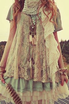 Lace, layers , florals, crochet , ruffles , and pastels