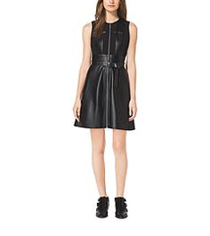 Belted Leather and Ponte Dress by Michael Kors