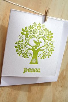 "Letterpress Christmas Card Scandinavian Folk Style Green Tree of Life ""Peace"""
