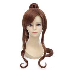 Amybria Damen 50cm Braun Lange Lockig Hitzebestandigkeit Partei-Kostum Anime Cosplay Perucke   Your #1 Source for Beauty Products