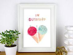 """Bild mit verliebtem Eis im Sommer / poster with ice cream cones """"I love summer"""" made by PrintsEisenherz via DaWanda.com"""