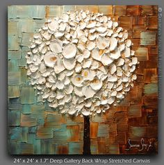 ORIGINAL White Blossoms Lollipop Tree Oil Painting by Susanna. Ready to Hang 24x24, via Etsy.