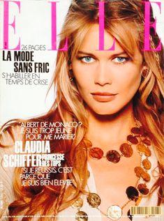 Claudia Schiffer ELLE Japan1993 Gilles Bensimon Monaco, Fashion Magazine Cover, Magazine Covers, Guess Girl, 90s Models, Vintage Bollywood, Most Beautiful Models, Paris Love, Elle Magazine