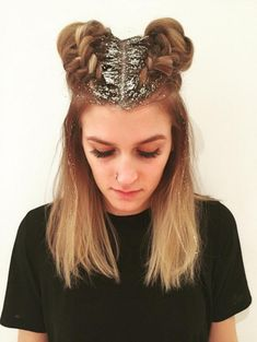 Golden Braided Buns - Step Up Your Sparkle Game With Glitter Roots - Photos