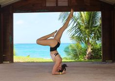 IG: @salsolysudor Yoga headstand at the beach #puertorico #yoga