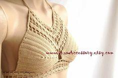 Crochet Tank Top Halter Bikini Halter Top Crop by senoAccessory