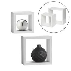 """2pc InPlace Floating Duo Square Cube 8"""" & 6"""" Shelves Display Decor Mount Storage WHITE"""