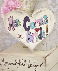 Here Comes The Bride Wedding Sign Punk Alternative Decor Graffiti Hippie Style Photo Prop. $45.00, via Etsy. but with custom wording and colours
