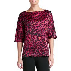 St. John Collection Women's Leopard Print Stretch Silk Charmeuse Bateau Neck Dolman Sleeve Blouse - Raspberry Multi (PETITE) (€395) found on Polyvore