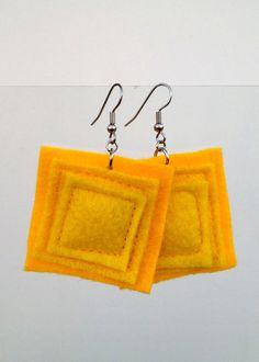 Yellow Felt Earrings Squares in Sushine and by JulieMarieSink, $7.00
