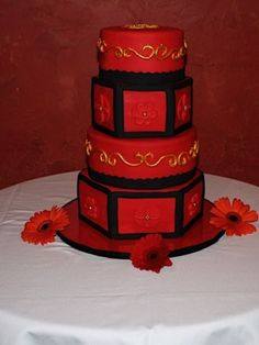 Black and Gold Wedding Cakes | Red, Black & Gold Wedding Cake By Maria_Campos