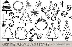 Check out Christmas Doodles Clipart & Brushes by Colors on Paper on Creative Market Christmas Doodles, Christmas Drawing, Doodle Lettering, Hand Lettering, Doodle Drawings, Doodle Art, Christmas Rock, Simple Christmas, Simple Doodles