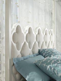 Mélange Quatrefoil canopy bed – what a fantastic headboard! Cozy Bedroom, Bedroom Decor, Bedroom Ideas, Moroccan Bedroom, Headboard Designs, Hooker Furniture, Luxurious Bedrooms, Luxury Bedrooms, Upholstered Beds