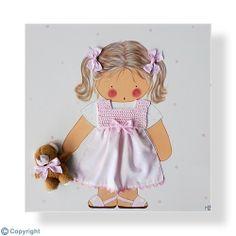 Cuadro infantil personalizado: Niña con su osito (ref. 12026-01)