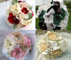 Custom Fabric Flower Bouquet Bridal Wedding You by AfternoonDelite #lace
