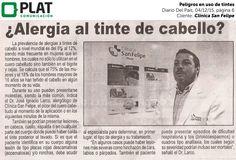 Clínica San Felipe: Peligros en uso de tintes capilares el el diario Del País de Perú (04/12/15)