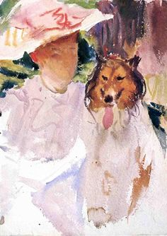 The Athenaeum - Woman with Collie (John Singer Sargent - )