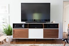10 DIY Entertainment Center That's Simply Entertaining for E Custom Made Furniture, Furniture Making, Mid Century Credenza, Entertainment Center Redo, Tv Cabinets, Diy Home Decor, Ikea, House Design, Entertaining