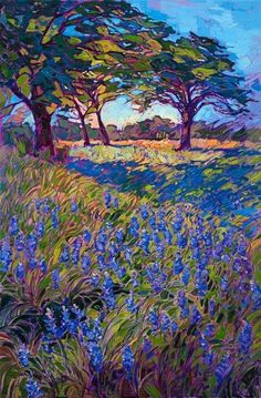 Spring Bluebonnets - Erin Hanson Prints - Buy Contemporary Impressionism Fine Art Prints Artist Direct from The Erin Hanson Gallery Erin Hanson, Abstract Landscape, Landscape Paintings, Abstract Art, Impressionist Landscape, Art Paintings, Impressionist Artists, Painting Art, Des Fleurs Pour Algernon