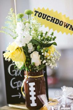 Football centerpiece football pinterest football football birthday party ideas junglespirit