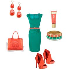 ♥Jade Green and Coral, created by acarl on Polyvore
