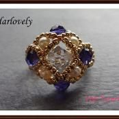 Crystal Pearl Purple Square Ring (RG061) - via @Craftsy