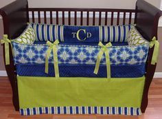 Tanner Baby Bedding  Included in this modern 3 piece bedding set is the bumper, crib blanket, and tailored crib skirt.