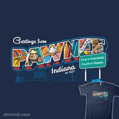 """""""Greetings From Pawnee"""" by Bamboota Postcard design inspired by Parks and Recreation Greetings from Pawnee, Indiana. Parks N Rec, Parks And Recreation, Postcard Design, Awesome Stuff, Video Games, Wallpapers, Tv, Random, Sweet"""
