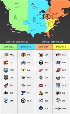 """Hockey season is approaching, so here's your NHL cheat sheet for the division realignments beginning in 2013.  Division A - """"Pacific""""  Division B - """"Central""""  Division C - """"Atlantic""""  Division D - """"Metropolitan""""  ...and Florida makes no sence"""