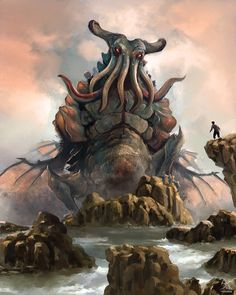 Cthulhu by Sanskarans H.P. Lovecraft monster beast creature animal | Create your own roleplaying game material w/ RPG Bard: www.rpgbard.com | Writing inspiration for Dungeons and Dragons DND D&D Pathfinder PFRPG Warhammer 40k Star Wars Shadowrun Call of Cthulhu Lord of the Rings LoTR + d20 fantasy science fiction scifi horror design | Not Trusty Sword art: click artwork for source