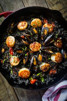 A traditional paella with a twist by using squid ink. Squid ink adds a depth of flavor to the rice and while the color may not be appetizing, it is delish. Squid Recipes, Seafood Recipes, Cooking Recipes, Healthy Recipes, Squid Ink Recipe, Portuguese Recipes, Italian Recipes, Salmon Pesto Pasta, Snacks