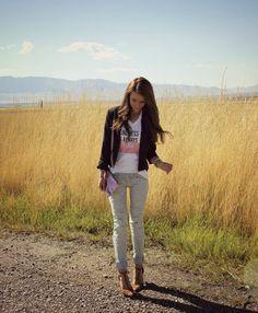 Kiss Me Darling: Kindness is Always Stylish Graphic tee, leopard heels, distressed denim, distressed jeans, blazer, sequin clutch