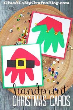 Bigliettini natalizi fai da te - Santa & Elf Handprint Christmas Cards - Kid Craft Idea