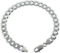 Sterling Silver Italian Curb Cuban Link Chain Bracelet 8mm Beveled Edges Nickel Free, 9 inch Sabrina Silver. $122.82