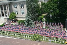 Flags on the Courthouse lawn in Marion,
