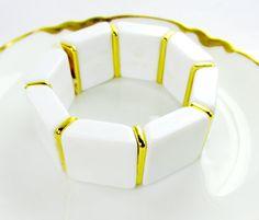 Vintage Bracelet White Resin Panel Link by SunburyVintageStore