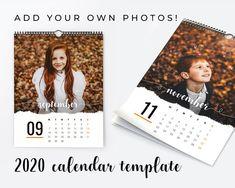 2020 Printable Calendar Template Add your own photos Photo Calendar, Print Calendar, Printable Calendar Template, Free Printable Calendar, Calendar Design, Office Calendar, Family Calendar, Lightroom, Adobe