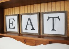 Framed EAT Set of 3 Signs Hand Painted Farmhouse Chic Kitchen Decor Wall Art