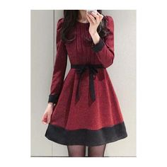 Rotita Wine Red Puff Sleeve Winter Dress