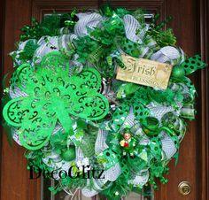 30 Deco Mesh IRISH BLESSINGS St. Patrick's Day Wreath by decoglitz