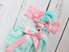 Aqua Lace Diaper Cover and Headband- Pink, shabby flowers, handmade Flowers, bloomers, newborn, baby girl, toddler, birthday, cake smash